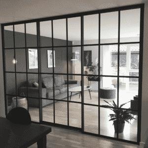 Newyorker-væg m. skydedør mellem stue og kontor, Svane Glas